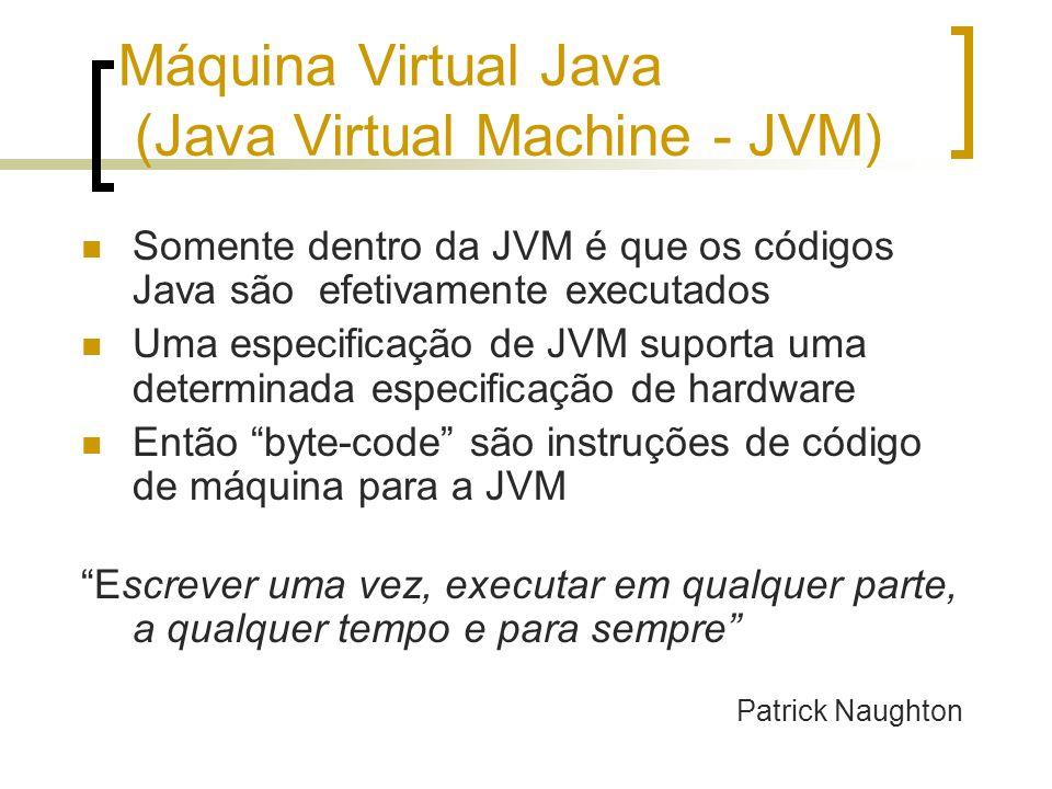 Máquina Virtual Java (Java Virtual Machine - JVM) Somente dentro da JVM é que os códigos Java são efetivamente executados Uma especificação de JVM suporta uma determinada especificação de hardware Então byte-code são instruções de código de máquina para a JVM Escrever uma vez, executar em qualquer parte, a qualquer tempo e para sempre Patrick Naughton