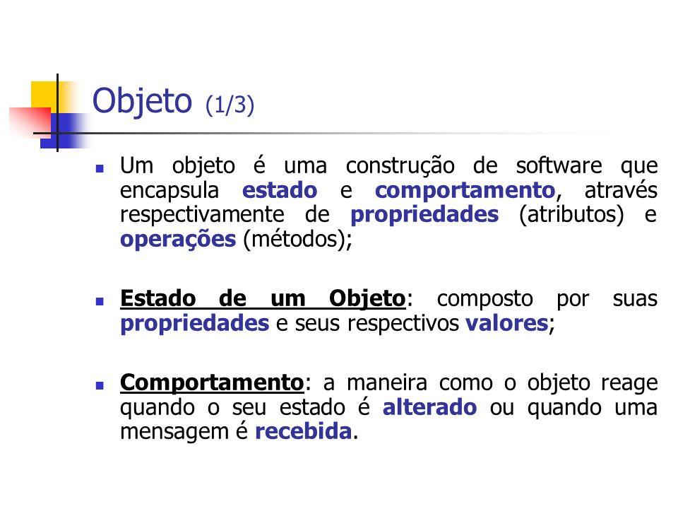 Objeto (1/3) Um objeto é uma construção de software que encapsula estado e comportamento, através respectivamente de propriedades (atributos) e operaç