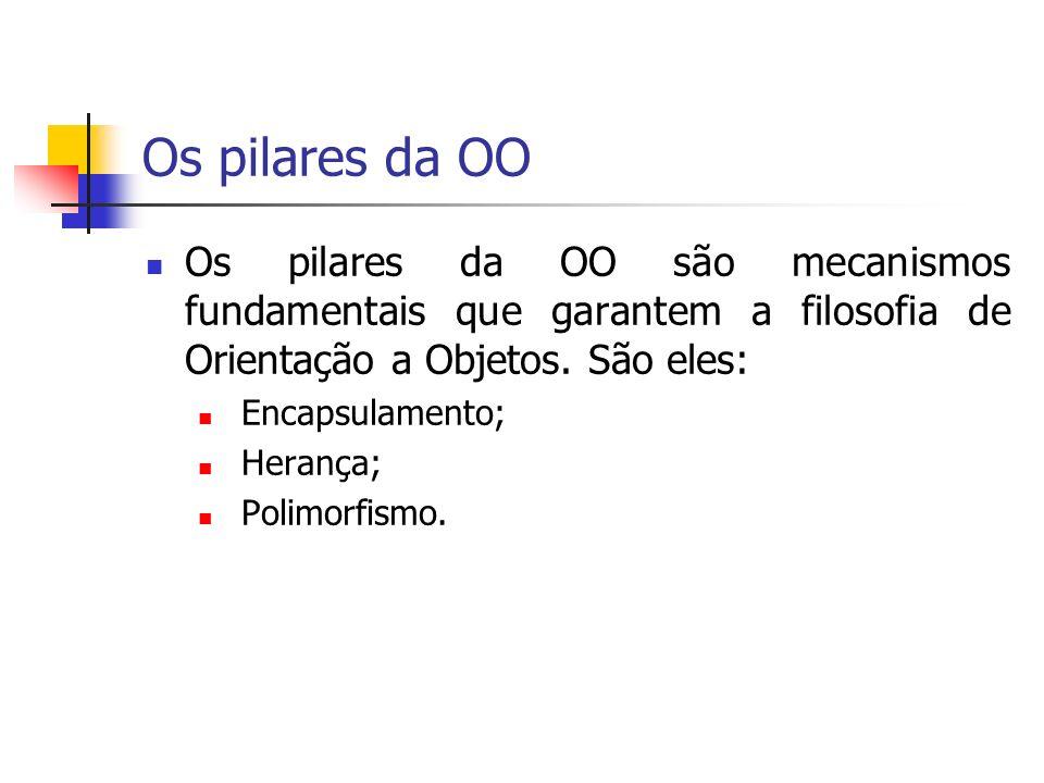 Os pilares da OO Os pilares da OO são mecanismos fundamentais que garantem a filosofia de Orientação a Objetos. São eles: Encapsulamento; Herança; Pol