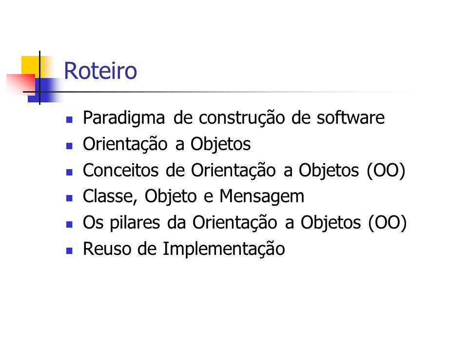 Roteiro Paradigma de construção de software Orientação a Objetos Conceitos de Orientação a Objetos (OO) Classe, Objeto e Mensagem Os pilares da Orient
