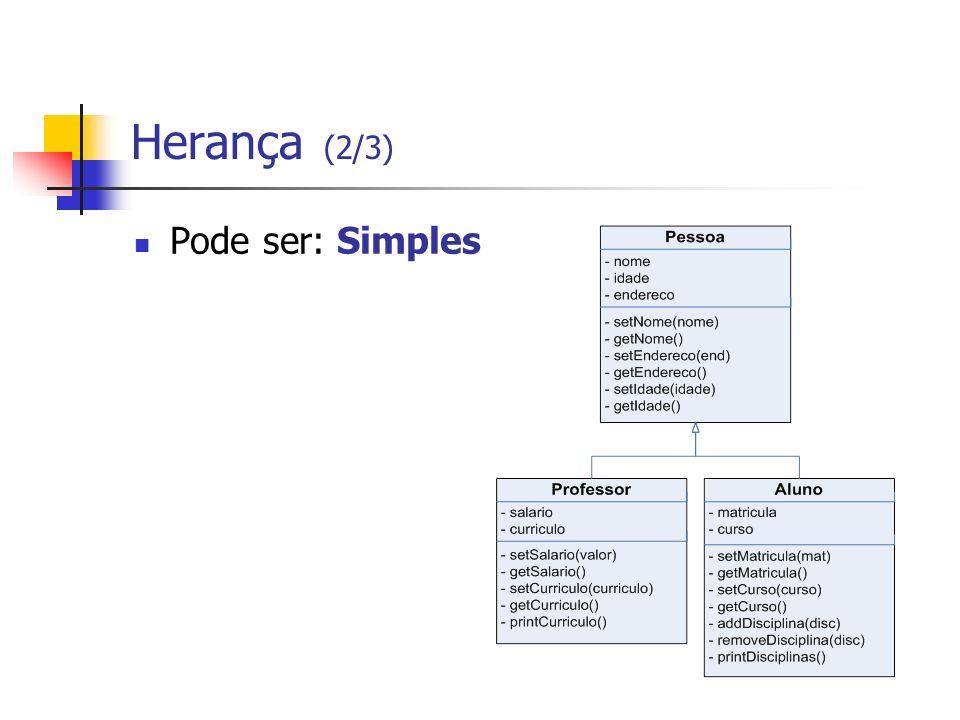 Herança (2/3) Pode ser: Simples
