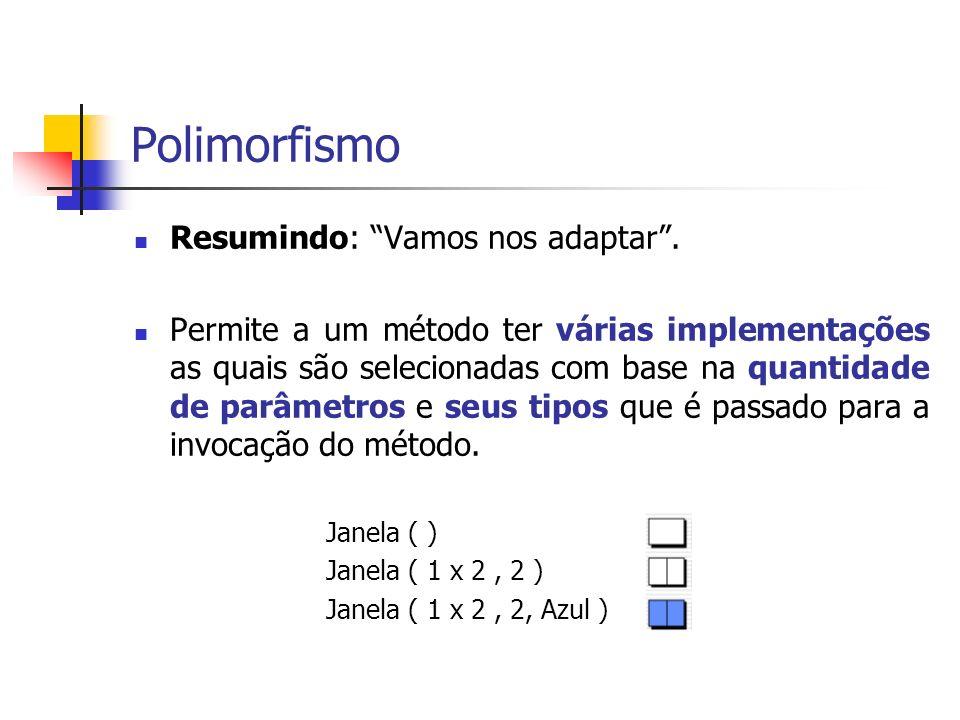 Polimorfismo Resumindo: Vamos nos adaptar. Permite a um método ter várias implementações as quais são selecionadas com base na quantidade de parâmetro