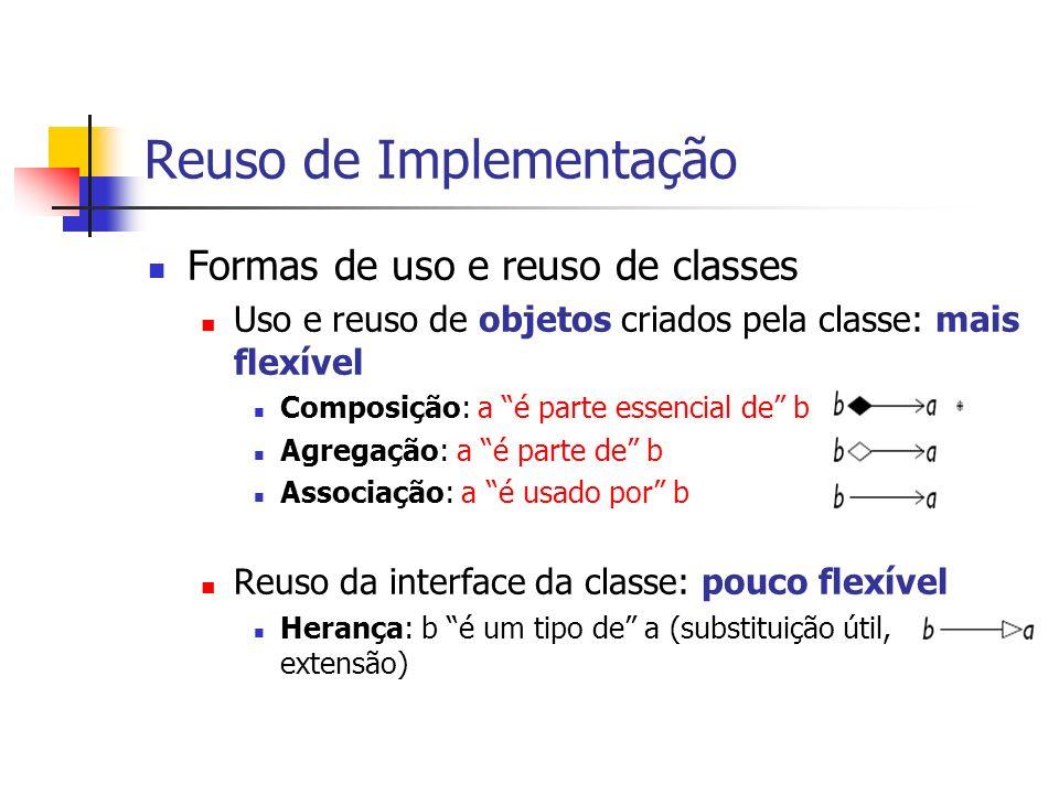 Reuso de Implementação Formas de uso e reuso de classes Uso e reuso de objetos criados pela classe: mais flexível Composição: a é parte essencial de b