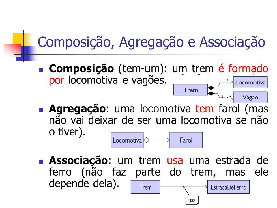 Composição, Agregação e Associação Composição (tem-um): um trem é formado por locomotiva e vagões. Agregação: uma locomotiva tem farol (mas não vai de