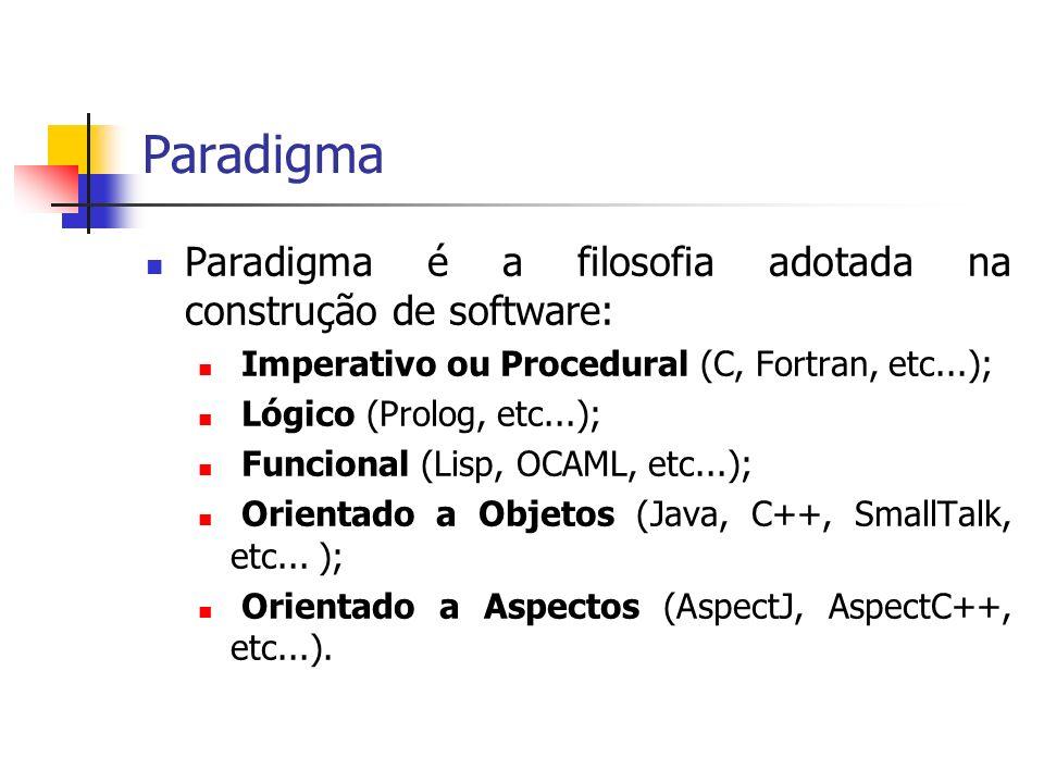 Paradigma Paradigma é a filosofia adotada na construção de software: Imperativo ou Procedural (C, Fortran, etc...); Lógico (Prolog, etc...); Funcional