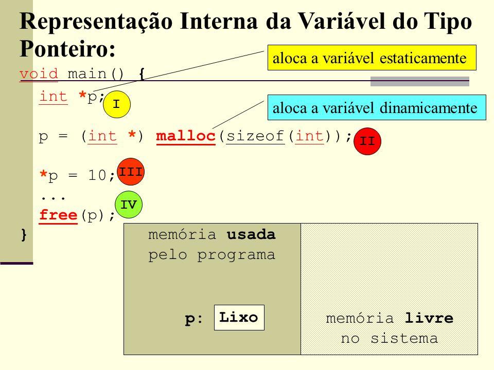 Lixo 10 Lixo1FFA Representação Interna da Variável do Tipo Ponteiro: void main() { int *p; p = (int *) malloc(sizeof(int)); *p = 10;... free(p); } mem