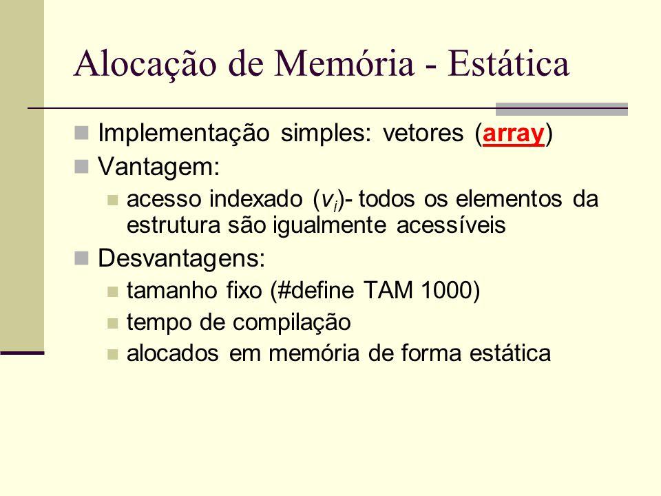 Alocação de Memória - Estática Implementação simples: vetores (array) Vantagem: acesso indexado (v i )- todos os elementos da estrutura são igualmente