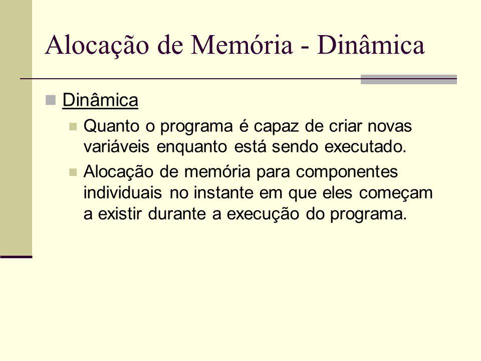 Alocação de Memória - Dinâmica Dinâmica Quanto o programa é capaz de criar novas variáveis enquanto está sendo executado. Alocação de memória para com