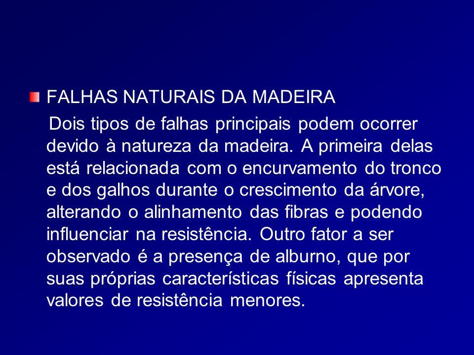 FALHAS NATURAIS DA MADEIRA Dois tipos de falhas principais podem ocorrer devido à natureza da madeira.