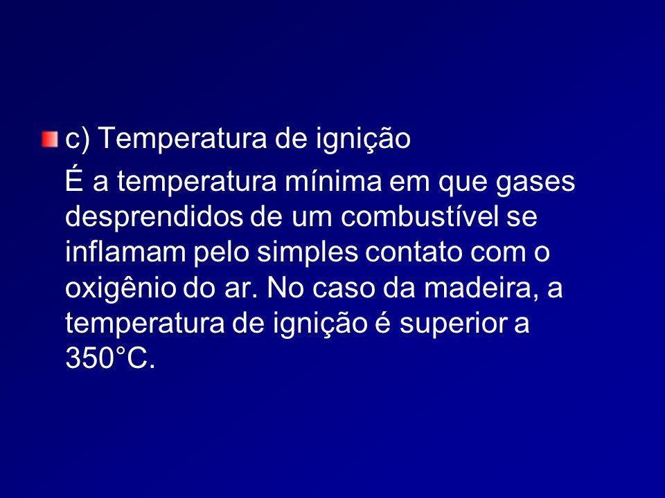 c) Temperatura de ignição É a temperatura mínima em que gases desprendidos de um combustível se inflamam pelo simples contato com o oxigênio do ar.