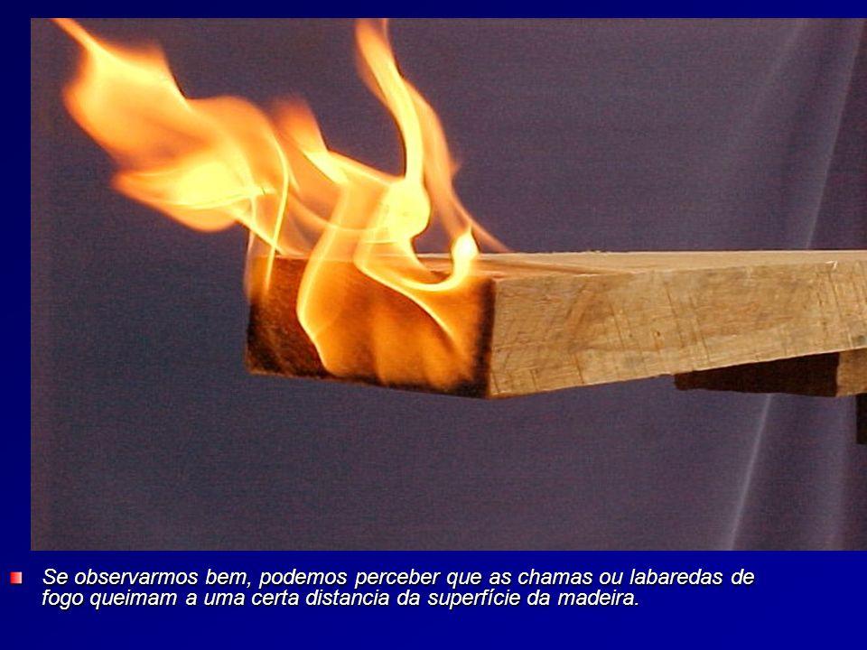 Se observarmos bem, podemos perceber que as chamas ou labaredas de fogo queimam a uma certa distancia da superfície da madeira.