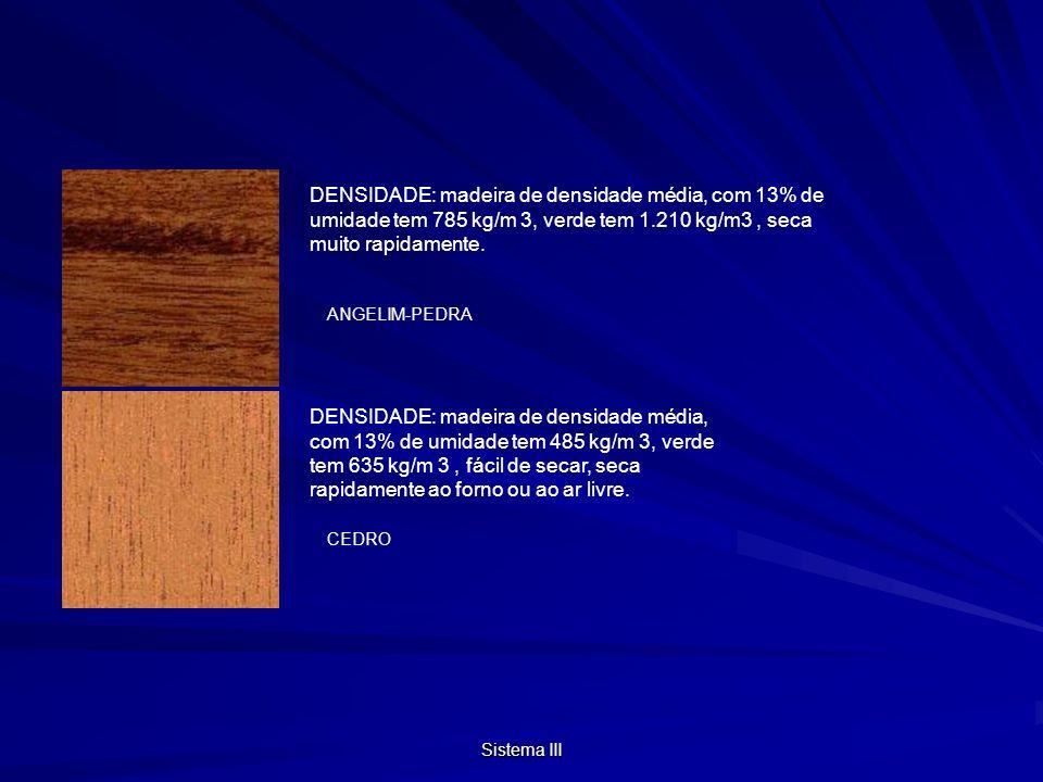 Sistema III DENSIDADE: madeira de densidade média, com 13% de umidade tem 785 kg/m 3, verde tem 1.210 kg/m3, seca muito rapidamente.