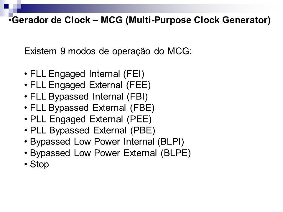 Gerador de Clock – MCG (Multi-Purpose Clock Generator) Modos de Operação: