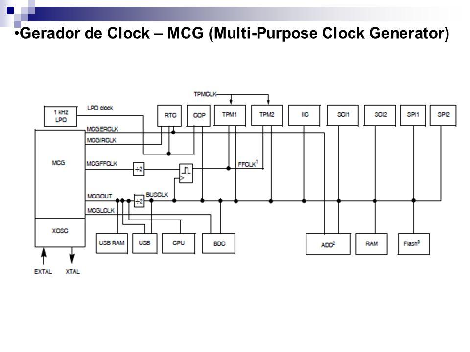 Após o reset o MCG vai para o modo FEI; Typical fMCGOUT = 16 MHz; BUSCLK = fMCGOUT /2 = 8 MHz;