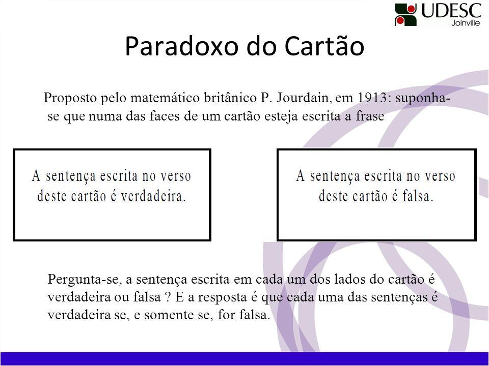 Paradoxo do Cartão Proposto pelo matemático britânico P. Jourdain, em 1913: suponha- se que numa das faces de um cartão esteja escrita a frase Pergunt