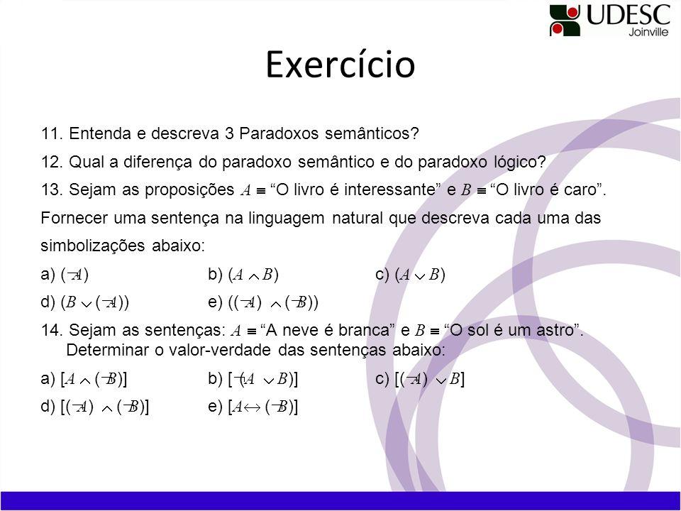 Exercício 11.Entenda e descreva 3 Paradoxos semânticos.