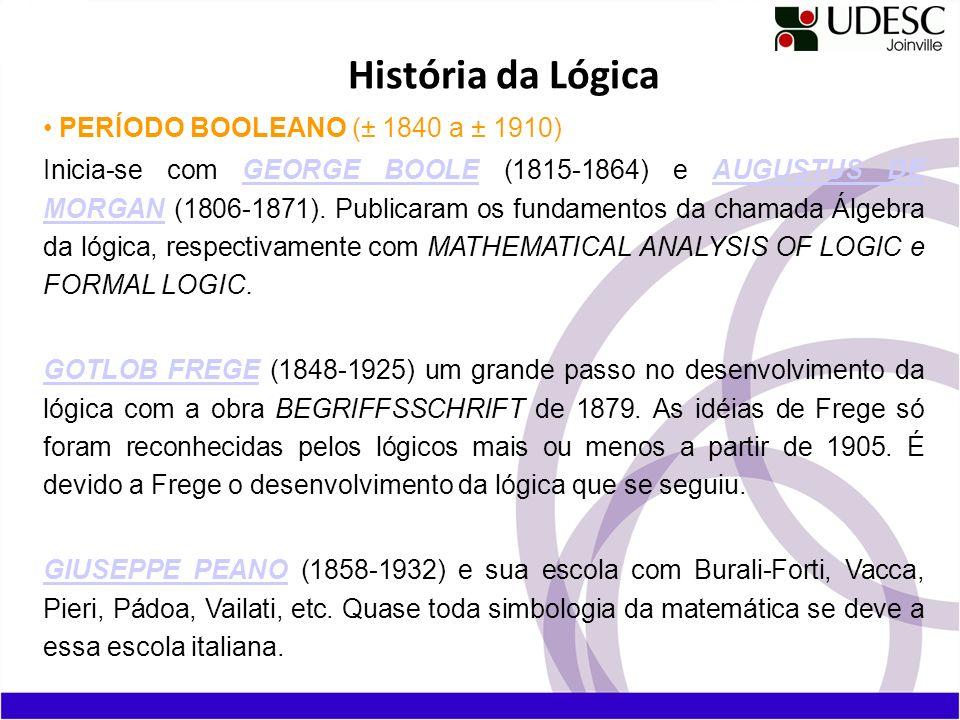 PERÍODO BOOLEANO (± 1840 a ± 1910) Inicia-se com GEORGE BOOLE (1815-1864) e AUGUSTUS DE MORGAN (1806-1871). Publicaram os fundamentos da chamada Álgeb