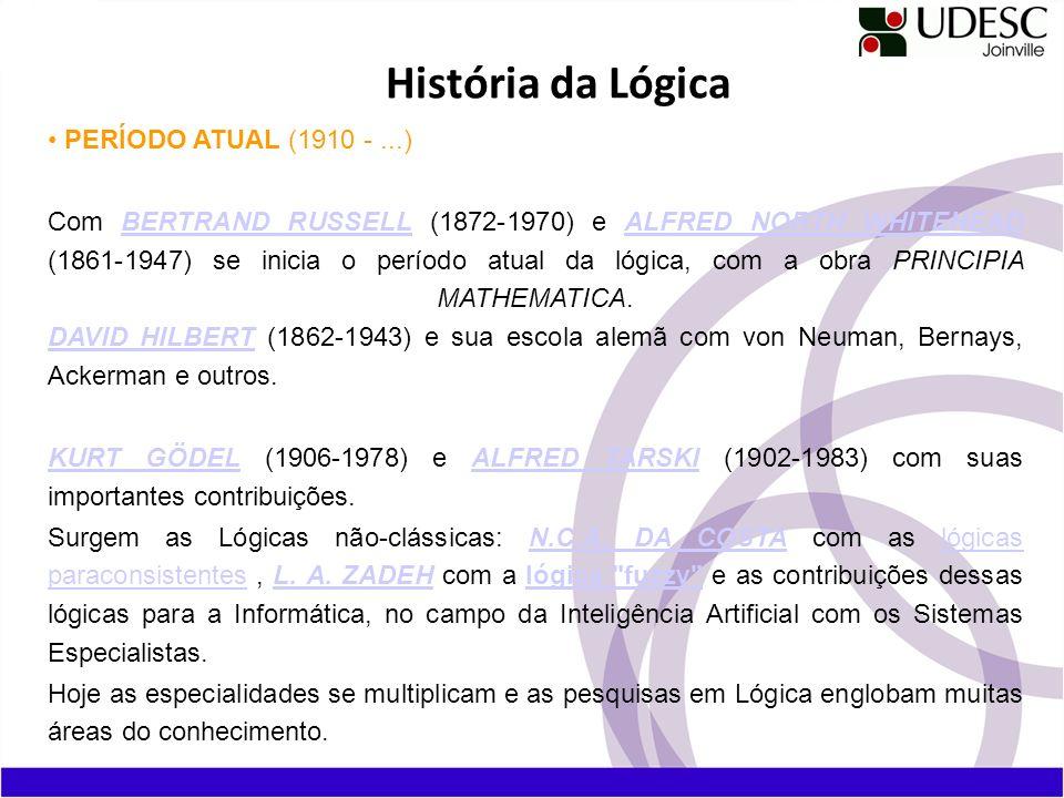 PERÍODO ATUAL (1910 -...) Com BERTRAND RUSSELL (1872-1970) e ALFRED NORTH WHITEHEAD (1861-1947) se inicia o período atual da lógica, com a obra PRINCI