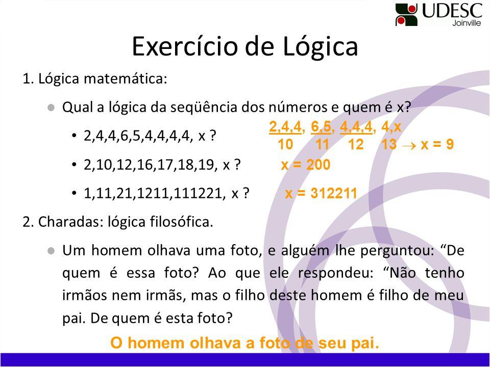 1. Lógica matemática: Qual a lógica da seqüência dos números e quem é x? 2,4,4,6,5,4,4,4,4, x ? 2,10,12,16,17,18,19, x ? 1,11,21,1211,111221, x ? 2. C