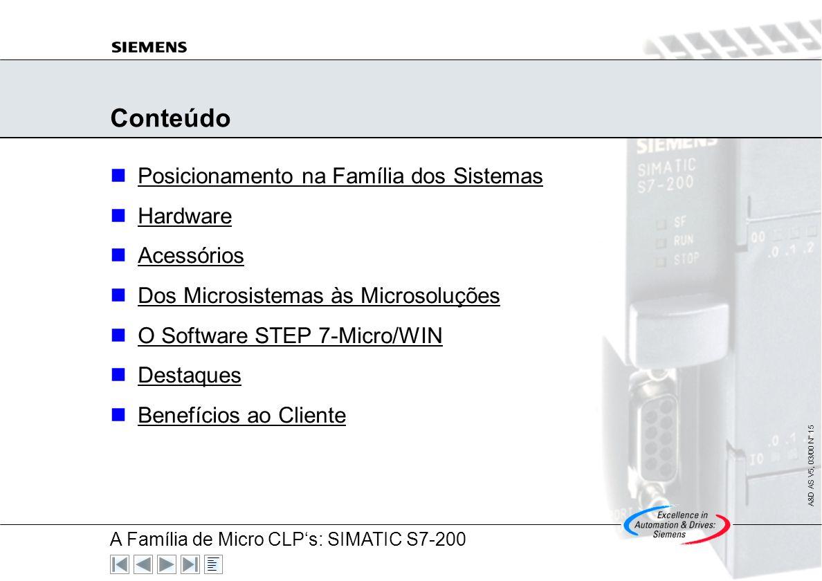 A Família de Micro CLPs: SIMATIC S7-200 A&D AS V5, 03/00 N° 14 SIMATIC S7-200 A Família Compacta de Micro CLPs A&D AS V5, 03/99 N° 14