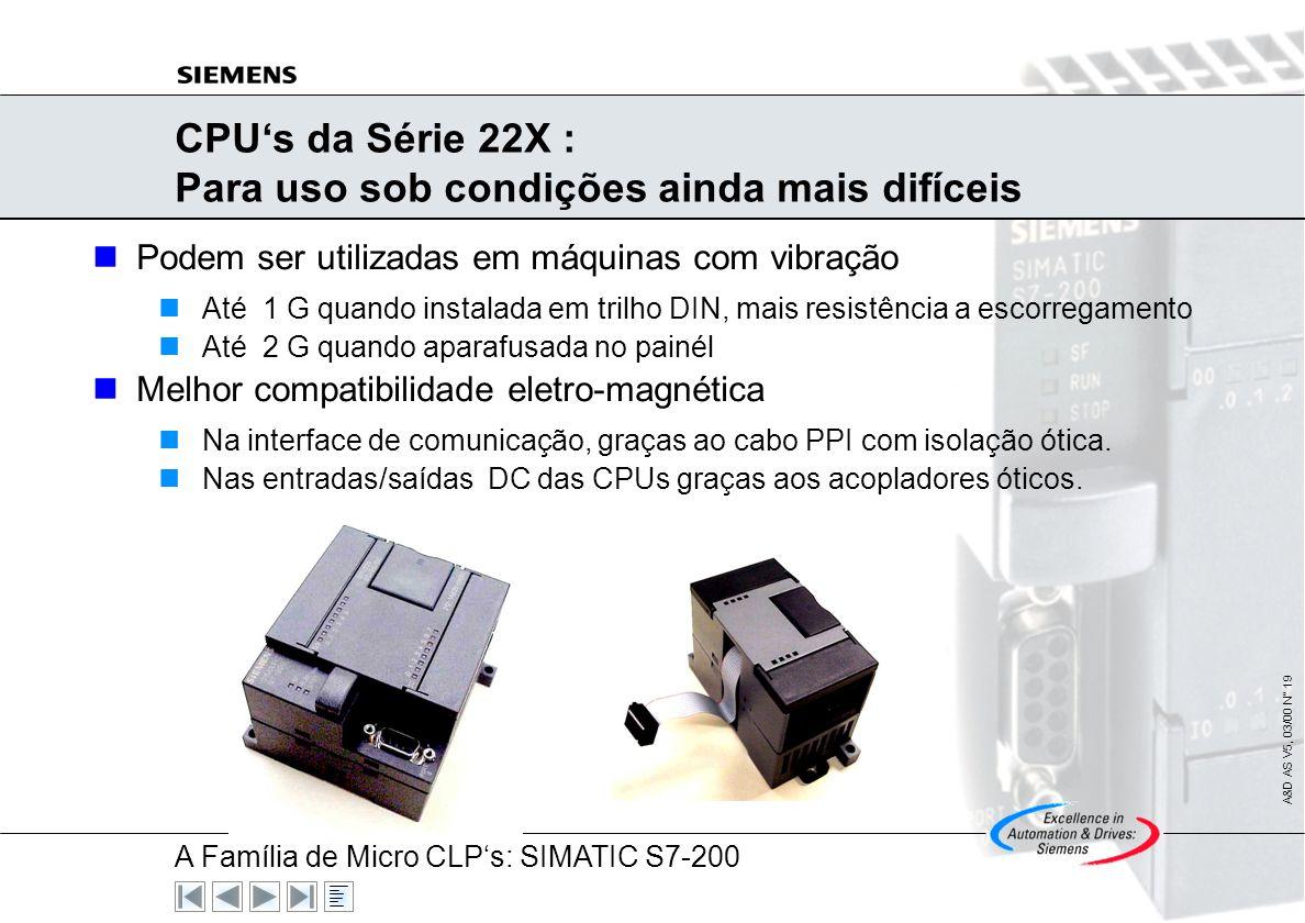 A Família de Micro CLPs: SIMATIC S7-200 A&D AS V5, 03/00 N° 18 As CPUs : Um Desempenho Feito sob Medida Entradas/Saídas Integradas Mais I/Os digitais