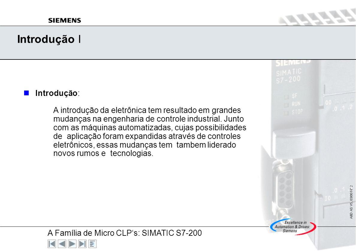 A Família de Micro CLPs: SIMATIC S7-200 A&D AS V5, 03/00 N° 1 Soluções SIMATIC A Tecnologia em Automação SIMA TIC SIMA TIC