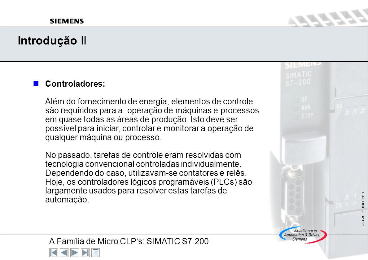 A Família de Micro CLPs: SIMATIC S7-200 A&D AS V5, 03/00 N° 2 Introdução I Introdução: A introdução da eletrônica tem resultado em grandes mudanças na