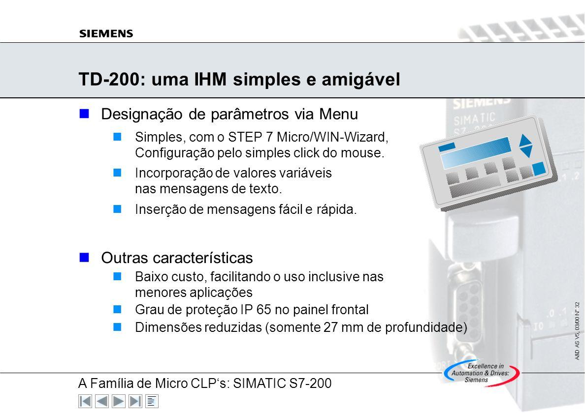 A Família de Micro CLPs: SIMATIC S7-200 A&D AS V5, 03/00 N° 31 SIMATIC S7-200: Conexão com Modem Comunicação com modem standard de 10-bits Pre-requisi