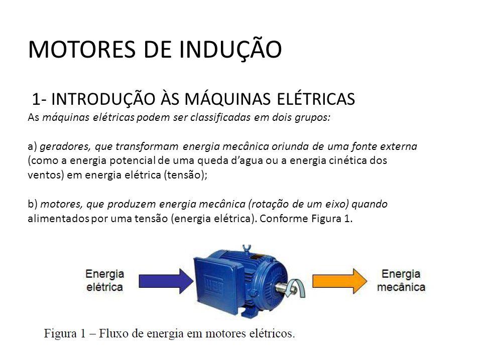 MOTORES DE INDUÇÃO 1- INTRODUÇÃO ÀS MÁQUINAS ELÉTRICAS As máquinas elétricas podem ser classificadas em dois grupos: a) geradores, que transformam ene
