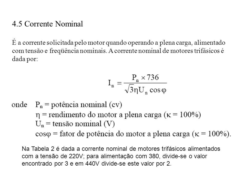 4.5 Corrente Nominal É a corrente solicitada pelo motor quando operando a plena carga, alimentado com tensão e freqüência nominais. A corrente nominal