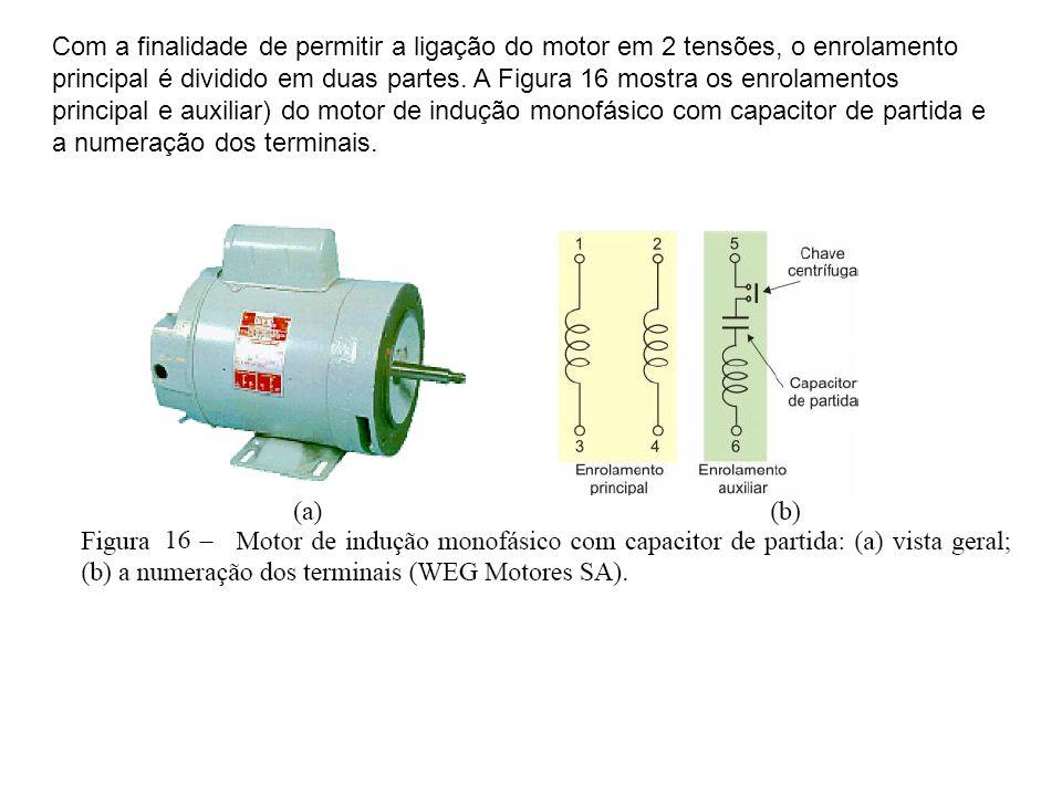 Com a finalidade de permitir a ligação do motor em 2 tensões, o enrolamento principal é dividido em duas partes. A Figura 16 mostra os enrolamentos pr