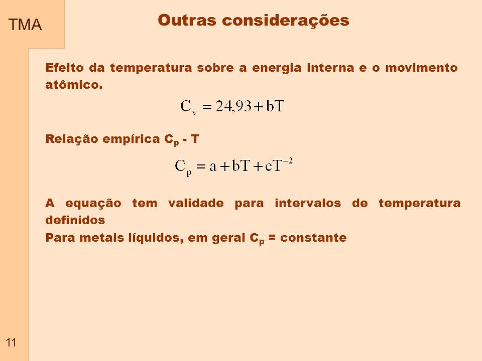 TMA 11 Efeito da temperatura sobre a energia interna e o movimento atômico. Relação empírica C p - T A equação tem validade para intervalos de tempera