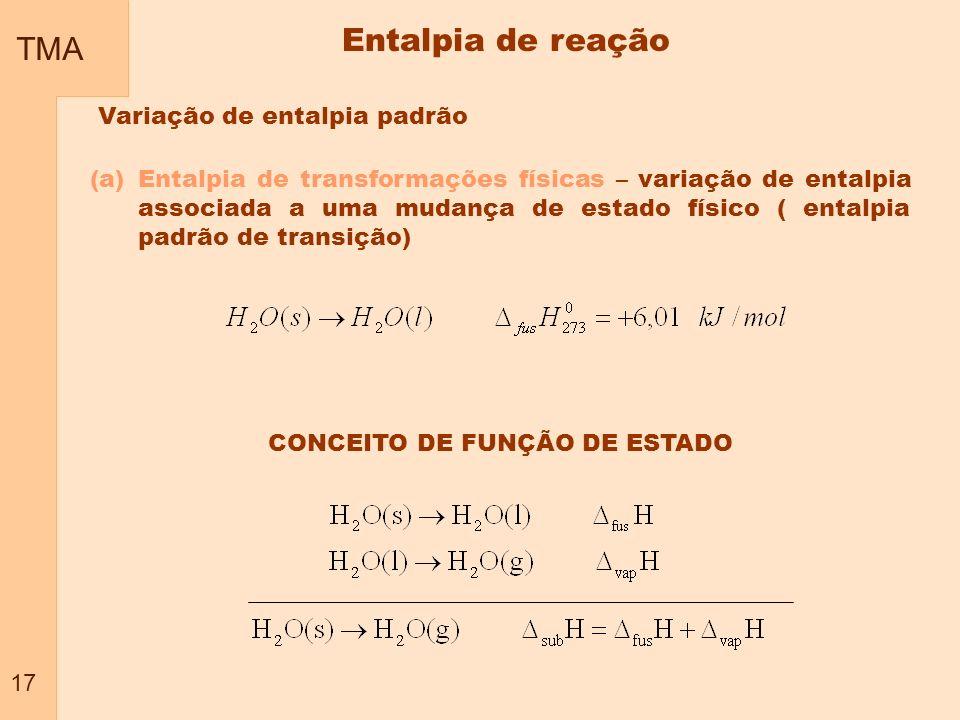 TMA 17 Variação de entalpia padrão (a)Entalpia de transformações físicas – variação de entalpia associada a uma mudança de estado físico ( entalpia pa