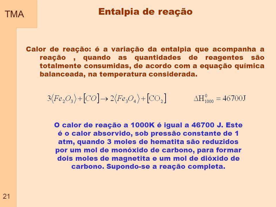 TMA 21 Entalpia de reação Calor de reação: é a variação da entalpia que acompanha a reação, quando as quantidades de reagentes são totalmente consumid