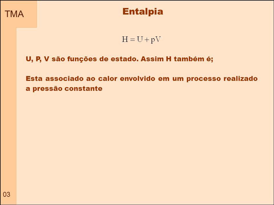 TMA 03 Entalpia U, P, V são funções de estado. Assim H também é; Esta associado ao calor envolvido em um processo realizado a pressão constante