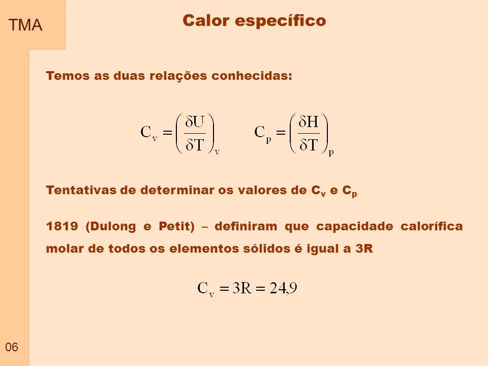 TMA 06 Temos as duas relações conhecidas: Tentativas de determinar os valores de C v e C p 1819 (Dulong e Petit) – definiram que capacidade calorífica