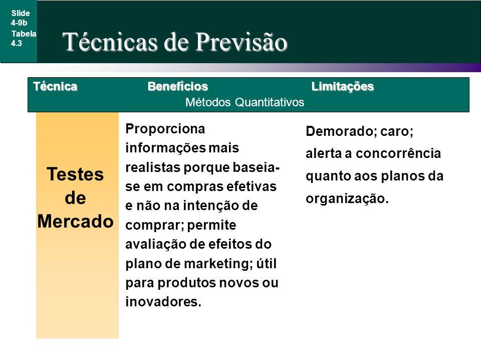 Slide 4-9b Tabela 4.3 Técnica Testes de Mercado Métodos Quantitativos BenefíciosLimitações Proporciona informações mais realistas porque baseia- se em