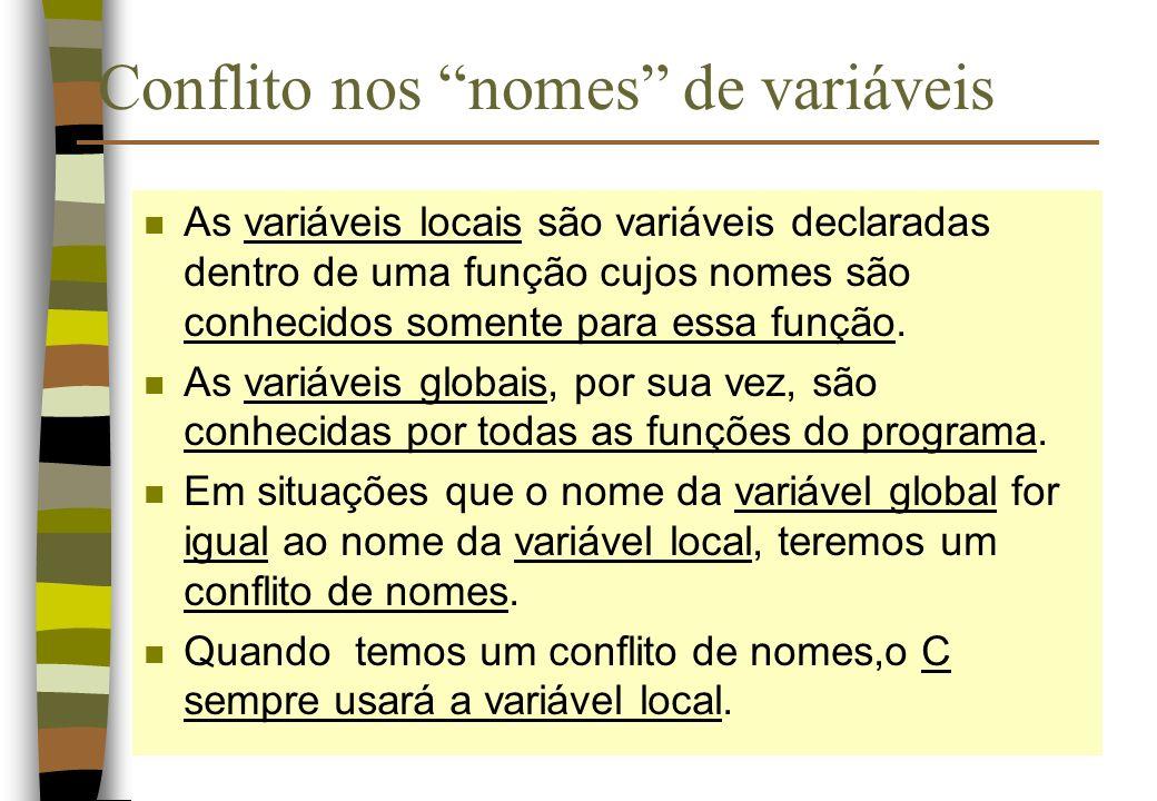 Conflito nos nomes de variáveis n As variáveis locais são variáveis declaradas dentro de uma função cujos nomes são conhecidos somente para essa funçã