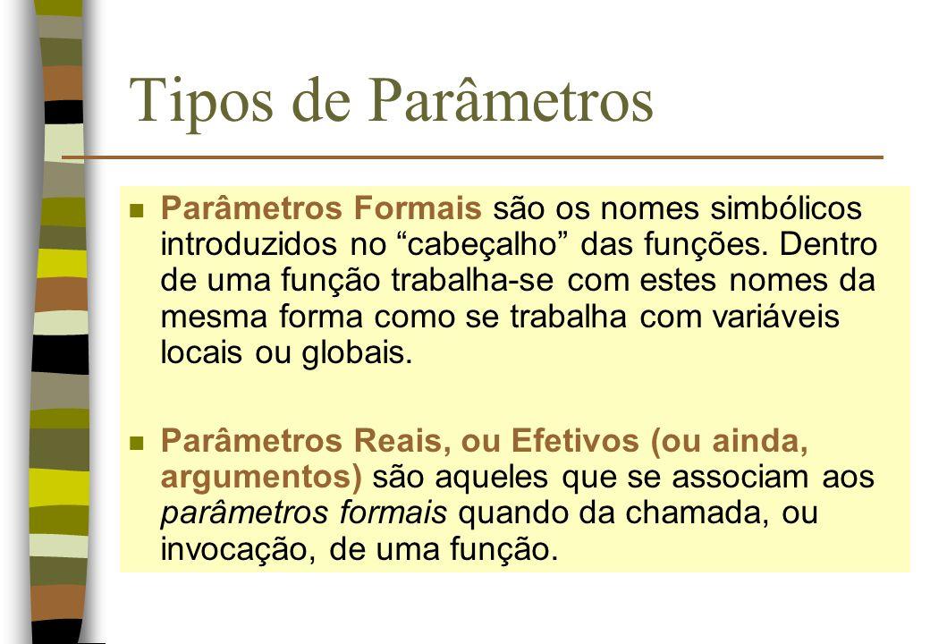 Tipos de Parâmetros n Parâmetros Formais são os nomes simbólicos introduzidos no cabeçalho das funções. Dentro de uma função trabalha-se com estes nom