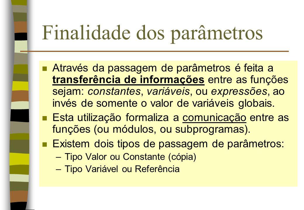 Finalidade dos parâmetros n Através da passagem de parâmetros é feita a transferência de informações entre as funções sejam: constantes, variáveis, ou