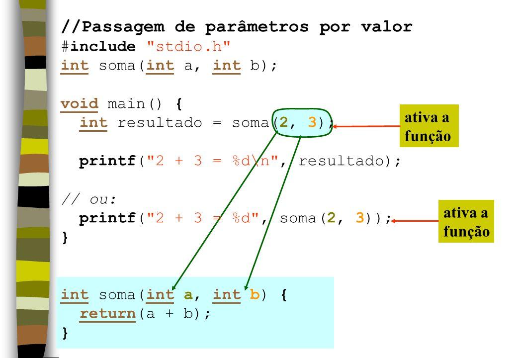 ativa a função ativa a função //Passagem de parâmetros por valor #include