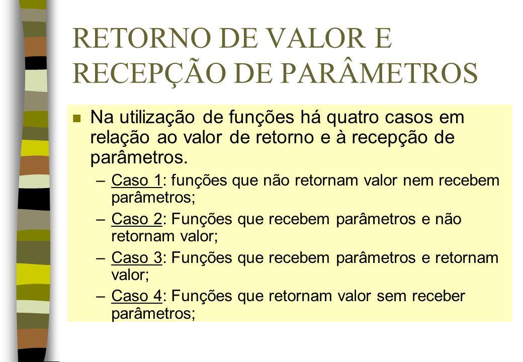 RETORNO DE VALOR E RECEPÇÃO DE PARÂMETROS n Na utilização de funções há quatro casos em relação ao valor de retorno e à recepção de parâmetros. –Caso