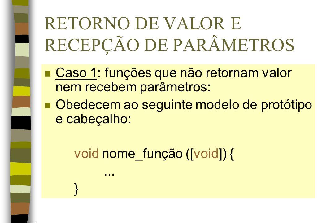 RETORNO DE VALOR E RECEPÇÃO DE PARÂMETROS n Caso 1: funções que não retornam valor nem recebem parâmetros: n Obedecem ao seguinte modelo de protótipo