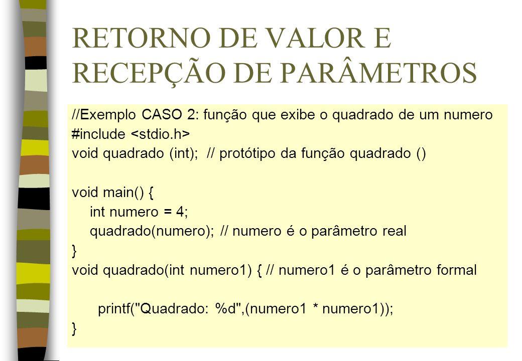 RETORNO DE VALOR E RECEPÇÃO DE PARÂMETROS //Exemplo CASO 2: função que exibe o quadrado de um numero #include void quadrado (int); // protótipo da fun