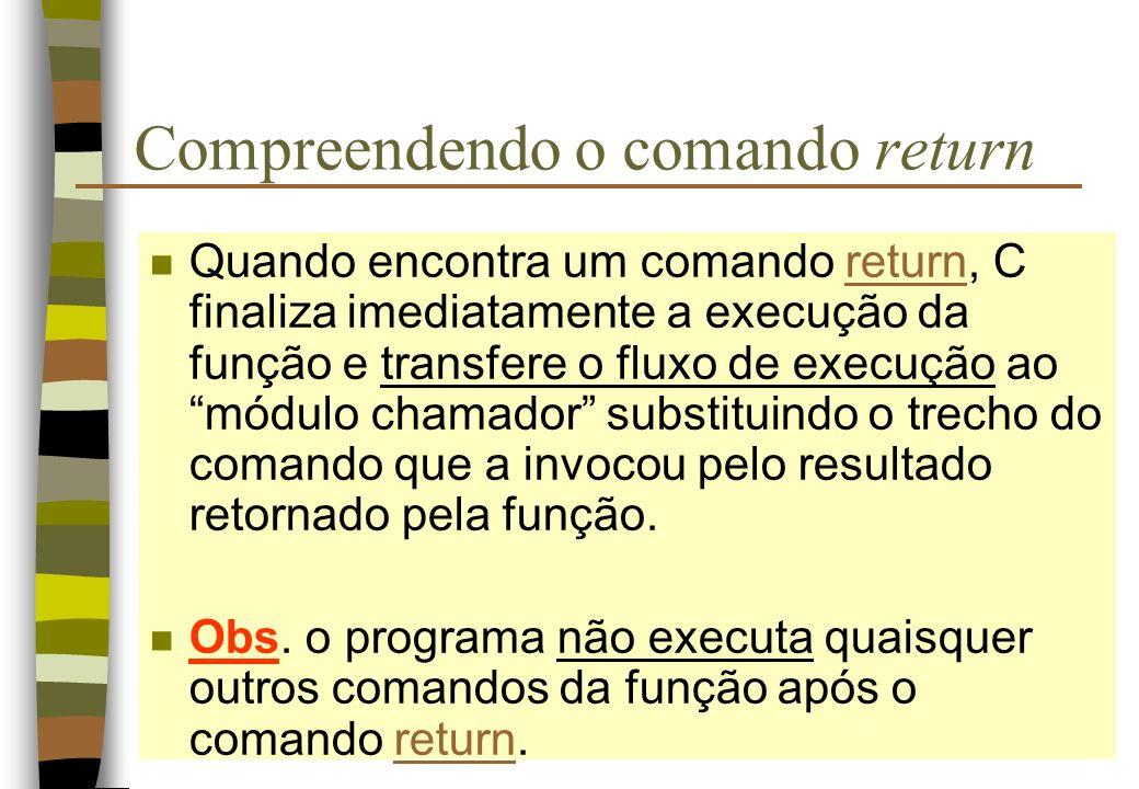 Compreendendo o comando return n Quando encontra um comando return, C finaliza imediatamente a execução da função e transfere o fluxo de execução ao m