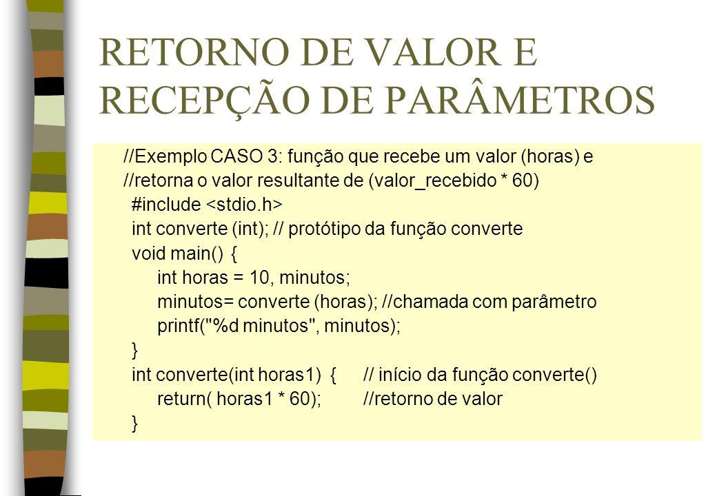 RETORNO DE VALOR E RECEPÇÃO DE PARÂMETROS //Exemplo CASO 3: função que recebe um valor (horas) e //retorna o valor resultante de (valor_recebido * 60)