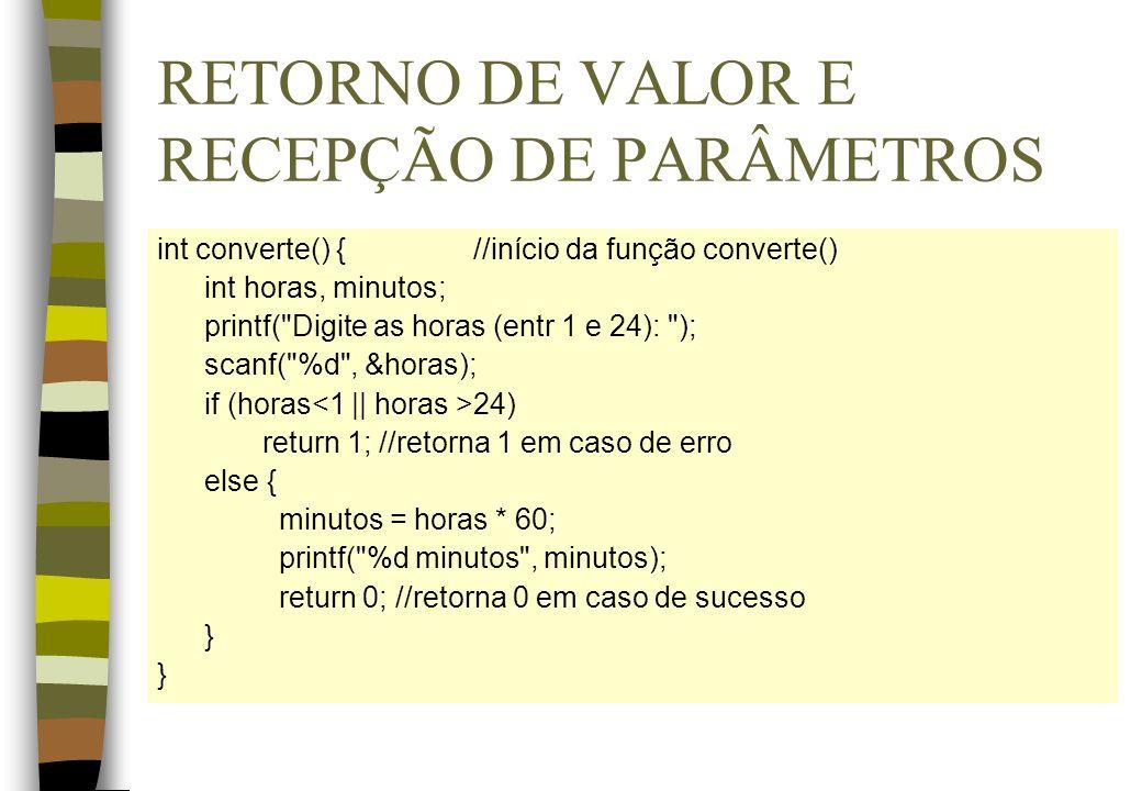 RETORNO DE VALOR E RECEPÇÃO DE PARÂMETROS int converte() {//início da função converte() int horas, minutos; printf(