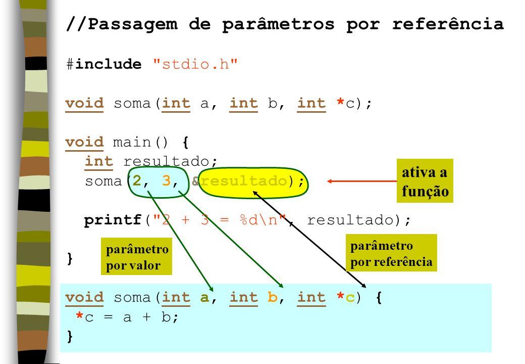 ativa a função parâmetro por valor parâmetro por referência //Passagem de parâmetros por referência #include