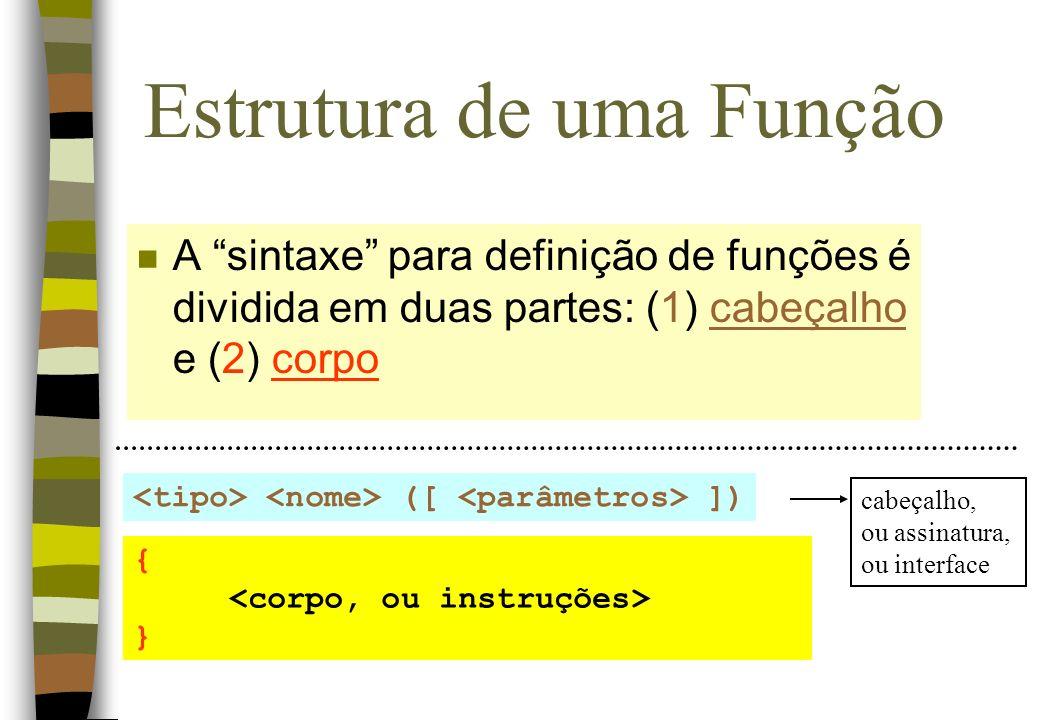 Estrutura de uma Função tipo:tipo de dado que define o valor de retorno nome: identificador, ou nome atribuído a função parâmetros: lista opcional de parâmetros (dados de entrada) corpo: conjunto de instruções que representam o corpo da função