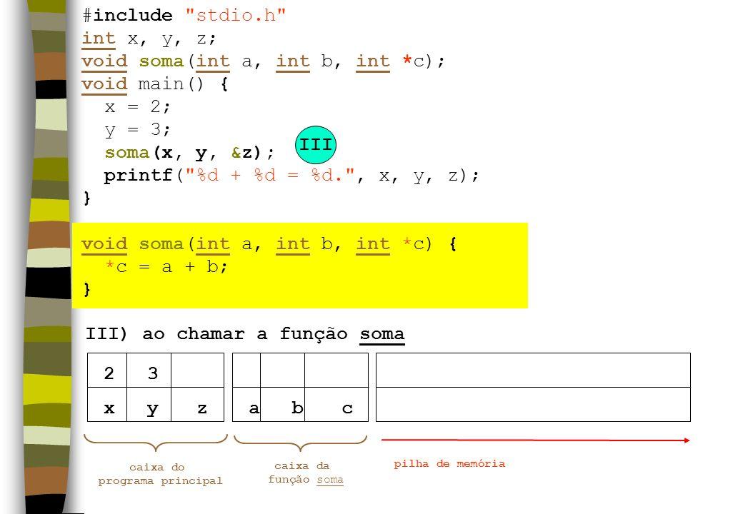 xyz III) ao chamar a função soma caixa do programa principal pilha de memória 23 III abc caixa da função soma #include